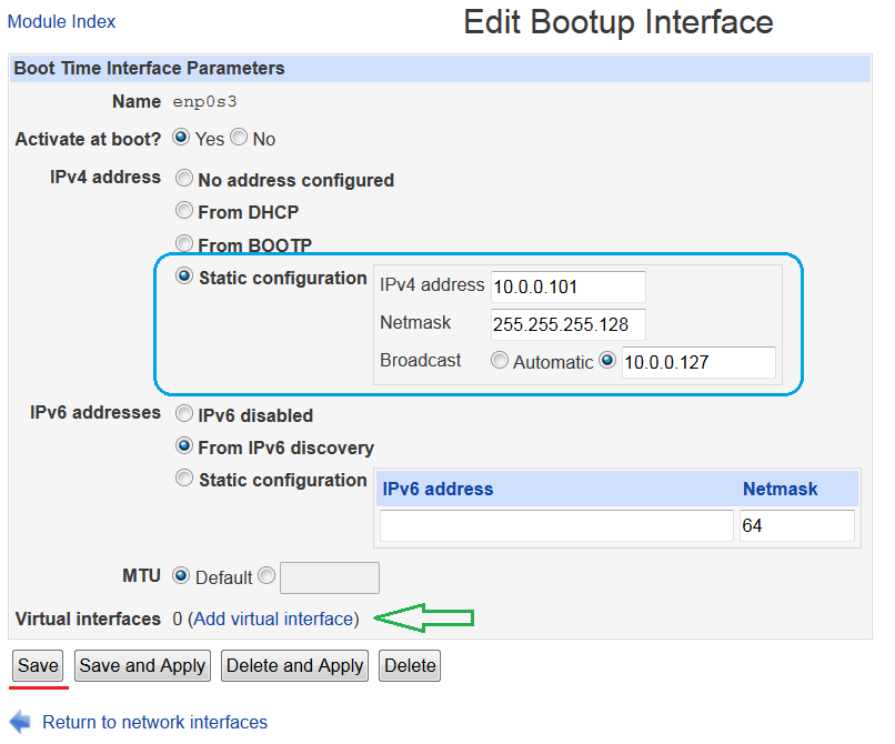 Configuring static IP address and virtual interfaces in Webmin · theZedt