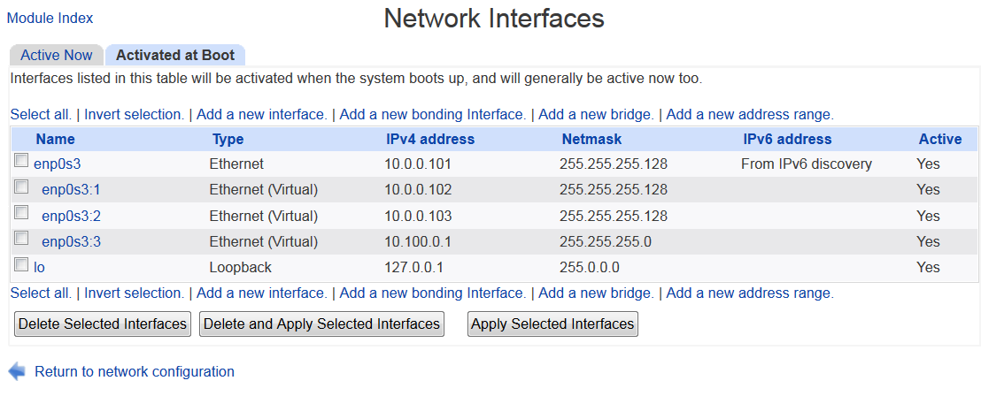 Configuring static IP address and virtual interfaces in
