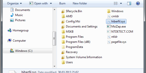 Configure hibernation and hiberfil.sys filesize