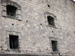War scars on Citadella walls